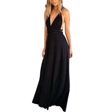 Women's Sexy V-Neck Dress,Convertible Wrap Multi Way Party Long Maxi - Sexy Black Party Dress