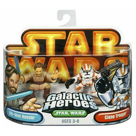 Star Wars Galactic Hero Obi-Wan Kenobi & Clone Trooper, Collectible, fun two-pack of cute, stylized characters from Star Wars! By Hasbro Ship from US - Clone Trooper Armor For Sale
