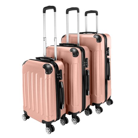Luggage 3 Piece Sets PC+ABS Spinner Suitcase 20 inch 24 inch 28 inch (Stacking Suitcase Set)