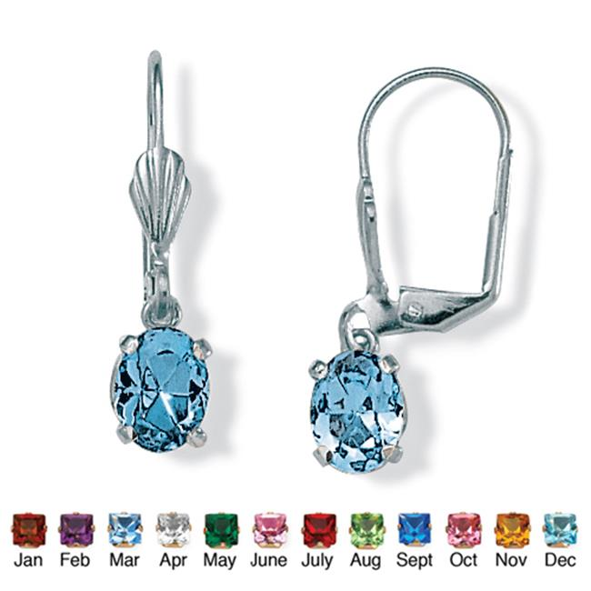 PalmBeach Jewelry 4785103 Oval-Cut Simulated Birthstone Silvertone Metal Drop Earrings March - Simulated Aquamarine