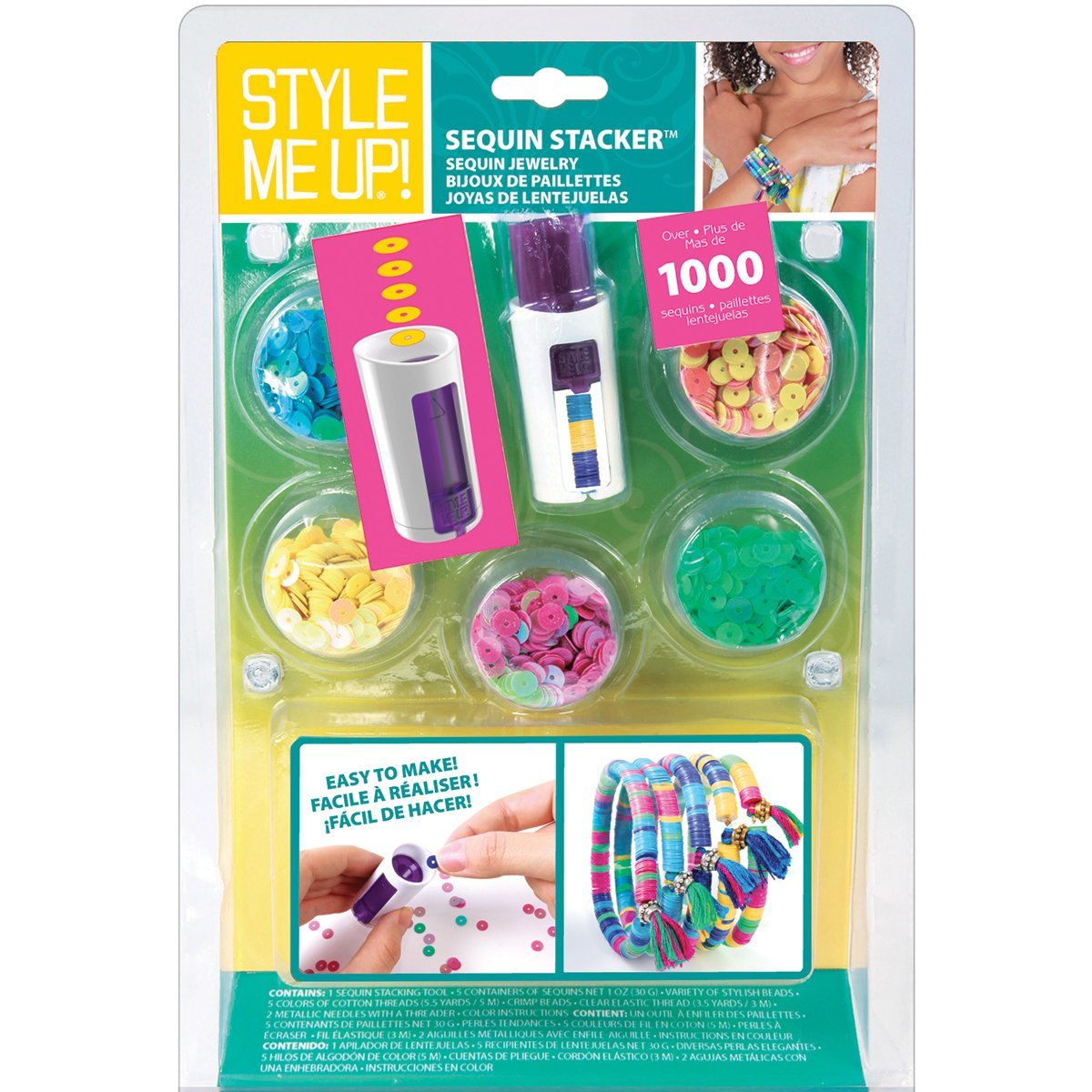 Style Me Up Sequin Stacker Bracelet Kit, Round-Shaped Sequins