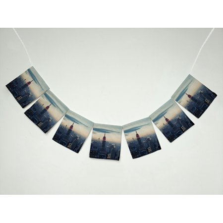 ZKGK New York City Skyline Banner Bunting Garland Flag Sign for Home Family Party - New York City Halloween Parties