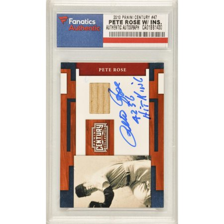 Pete Rose Cincinnati Reds Autographed 2010 Panini Century Legends #47 Containing a Piece of Game Used Material with Hit King and 4256 Inscriptions- Limited Edition of 100 - Fanatics Authentic