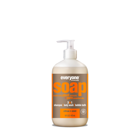 Everyone Citrus & Mint 3-in-1 Soap Moisturizing Shampoo Body Wash & Bubble Bath 16 Oz