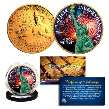 INDEPENDENCE DAY July 4th - 1976 Bicentennial U.S. Quarter 24K Gold Plated
