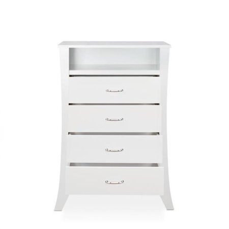 Benzara BM193800 Wooden Four Drawers Chest with Open Top Compartment & Splayed Legs - White - 30 x 17 x 44 in. 17' Adult Chest Protector