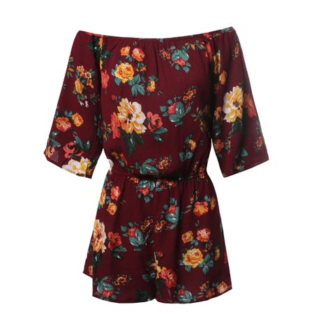 FashionOutfit Women's Floral Print Off Shoulder Flare Sleeves (Blue Plaid Romper)