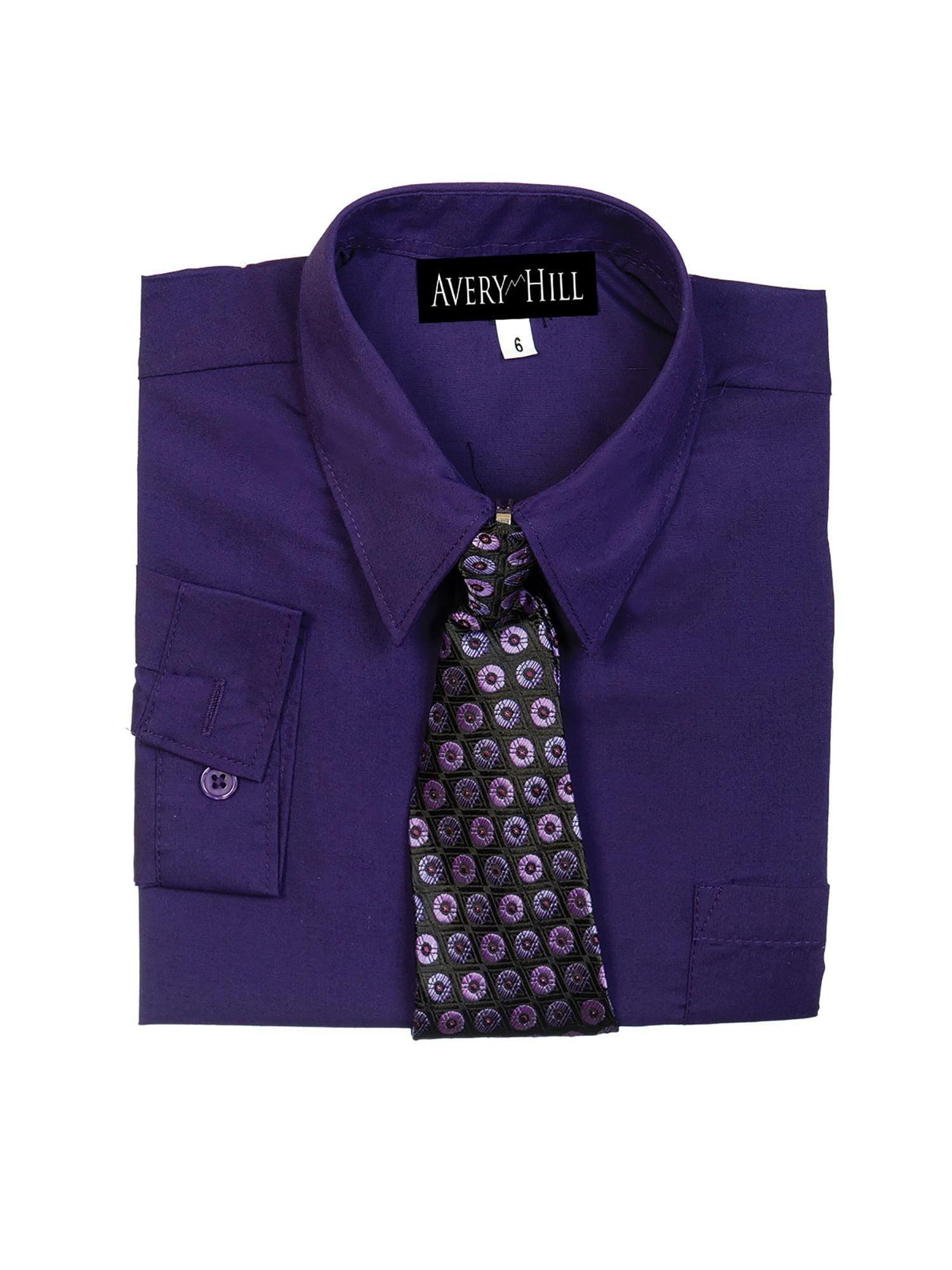 Boys Young Kings $35 Lilac Ash Long Sleeve Dress Shirt w// Tie Sizes 8-20