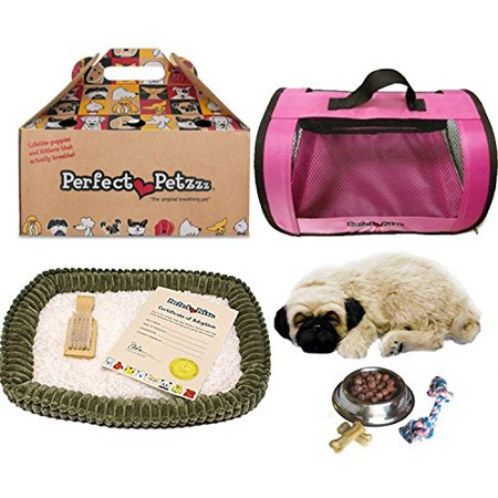 Perfect Petzzz Huggable Pug Puppy with Pink Tote For Plush Breathing Pet and Dog Food, Treats, and Chew Toy