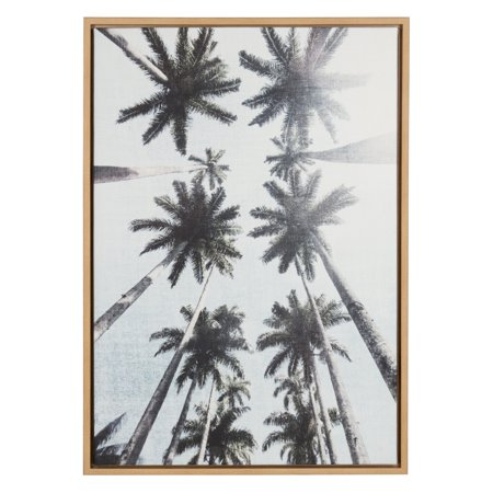 Laurel Tree - Kate and Laurel Sylvie Row of Palm Trees Framed Canvas Wall Art
