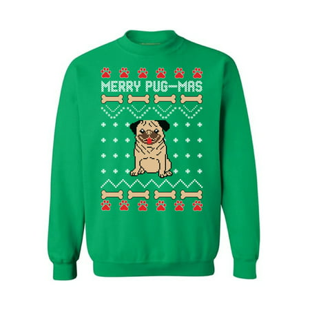 Awkward Styles Merry Pug-Mas Sweatshirt Funny Christmas Pug Sweater for Men and Women Pugmas Ugly Christmas Sweater Cute Pug Gifts for Christmas Xmas Party Xmas Gifts for Dog Lovers Merry Pugmas - Woman Ugly Christmas Sweater