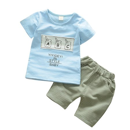 Summer Baby Boys Clothes Set Letter Print Short Sleeve Tops Shirt+Shorts 6M-3Y