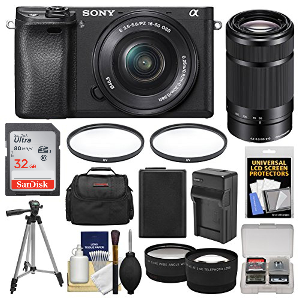 Sony Alpha A6300 4K Wi-Fi Digital Camera with 16-50mm and 55-210mm Lens Bundle