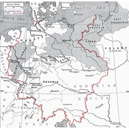 Map Of Germany In 1815 From The Book Europe In The Nineteenth Century An Outline History Published 1916 Posterprint