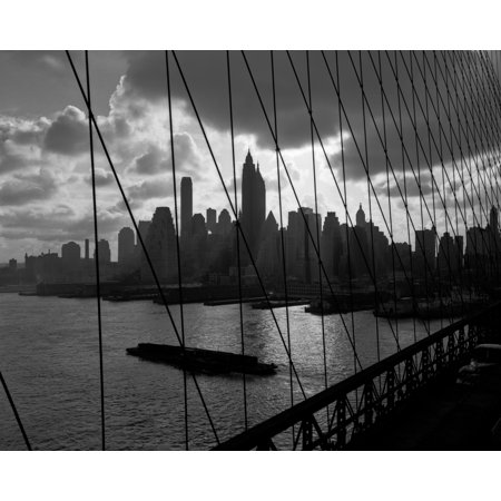 1950s-1960s Downtown Manhattan Skyline From Brooklyn Bridge Barge In East River Nyc Usa Print By Vintage Collection (Party City Downtown Brooklyn)