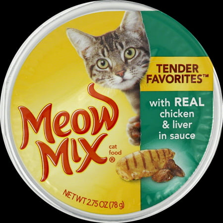 7 Ounce Liver - (4 Pack) Meow Mix Tender Favorites With Real Chicken & Liver in Sauce Wet Cat Food, 2.75-Ounce Cup