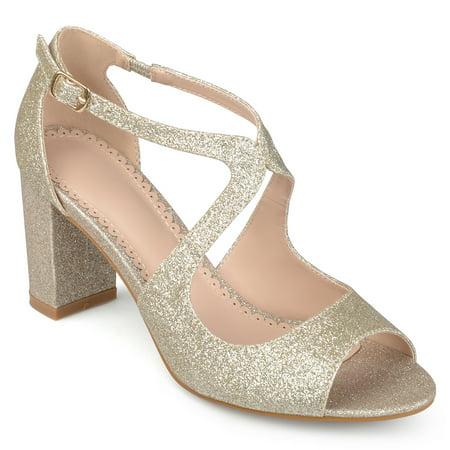 - Women's Glitter Intersecting Straps Block Heel Open Toe Heels