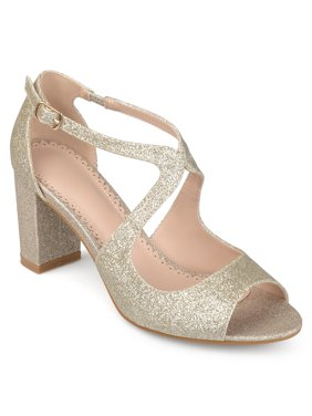 Women's Glitter Intersecting Straps Block Heel Open Toe Heels