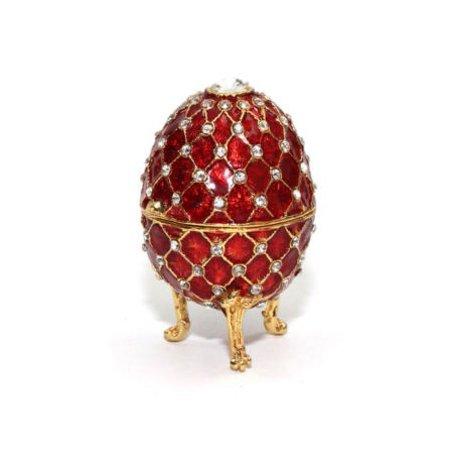 Faberge Egg RED Decorative 24K Gold Trinket Jewelry Box with Swarovski Crystals