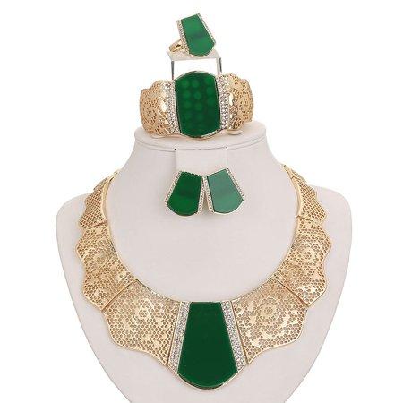 Costume Wedding Jewelry (Moochi 18K Gold Plated Green Acrylic Necklace Earrings Ring Bracelet Jewelry Set Costume)