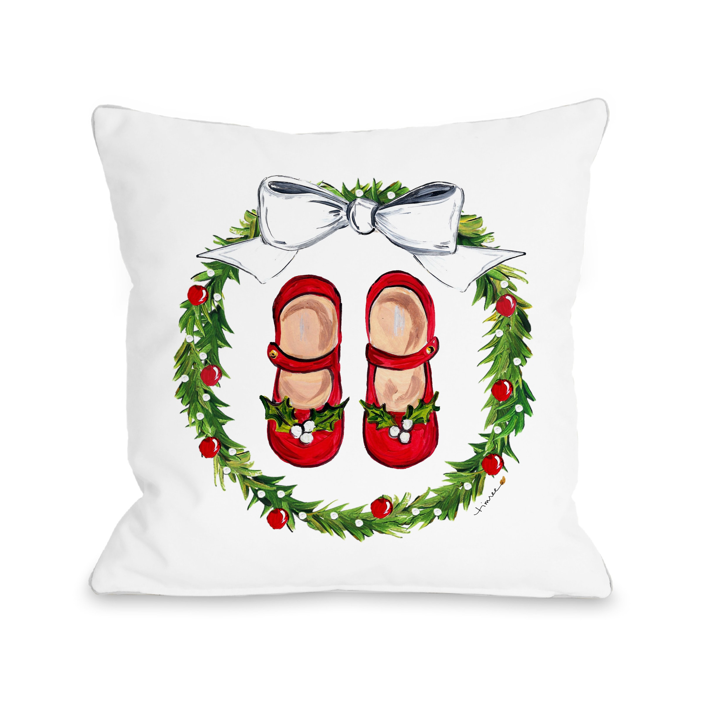 Mary Janes Wreath - Multi 16x16 Pillow by Timree Gold
