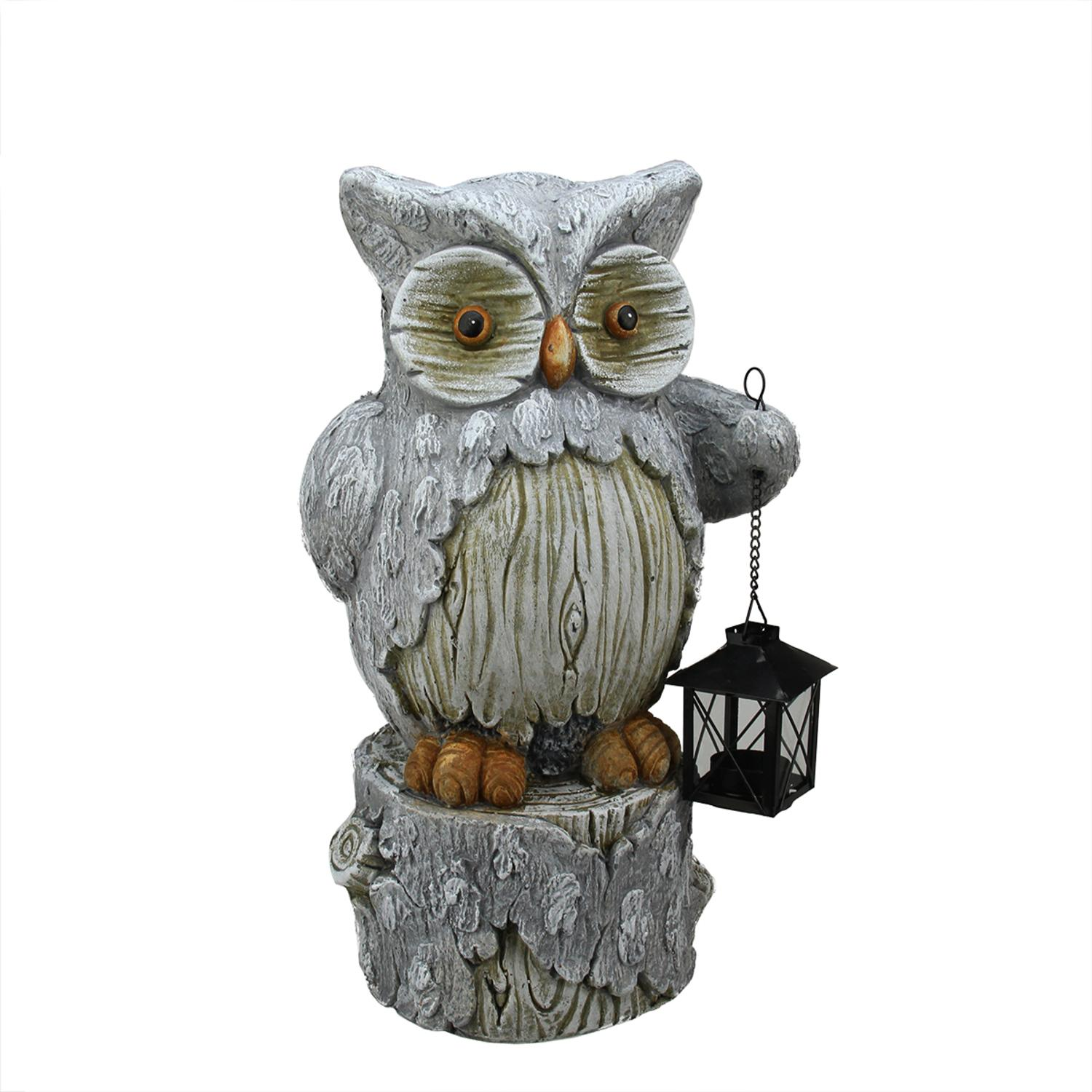 "17"" Country Rustic Owl with Lantern Christmas Table Top Decoration"