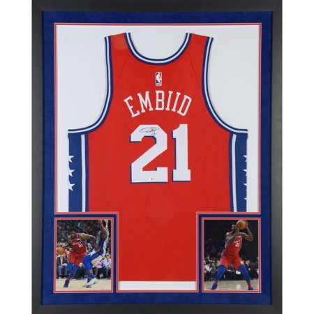 pretty nice 2d17a 2b394 Joel Embiid Philadelphia 76ers Sports Memorabilia Deluxe Framed Autographed  Red Statement Swingman Jersey - Fanatics Authentic Certified
