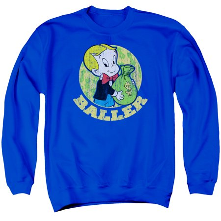 - Richie Rich Harvey Comics Character Baller Money Bags Adult Crewneck Sweatshirt