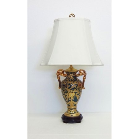 Amita Trading Inc. Green and Gold-tone Scrolls Porcelain Trophy Lamp](Playroom Trophies)