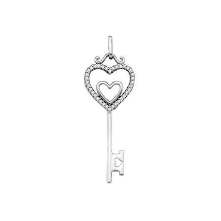 10kt White Gold Womens Round Diamond Key Double Heart Pendant 1/10 (White Gold Diamond Key Pendant)
