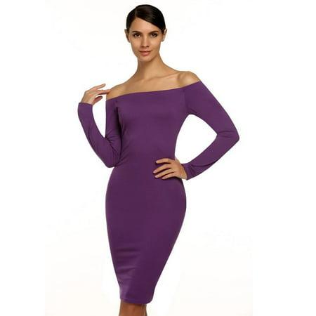 0cfde20b9314 Stylish Women Off-shoulder Backless Long Sleeve Stretch Bodycon Dress HFON  - Walmart.com