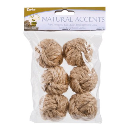 Decorative Jute Balls for Bowls: Natural Rope Monkey Fist Knot Ball, 6 pack ()
