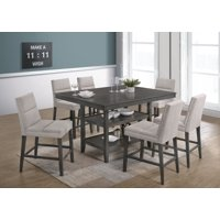 Best Quality Furniture 7pc Counter Height Set, Gray Table with Shelfs & Beige Linen Fabric C.H. Chairs