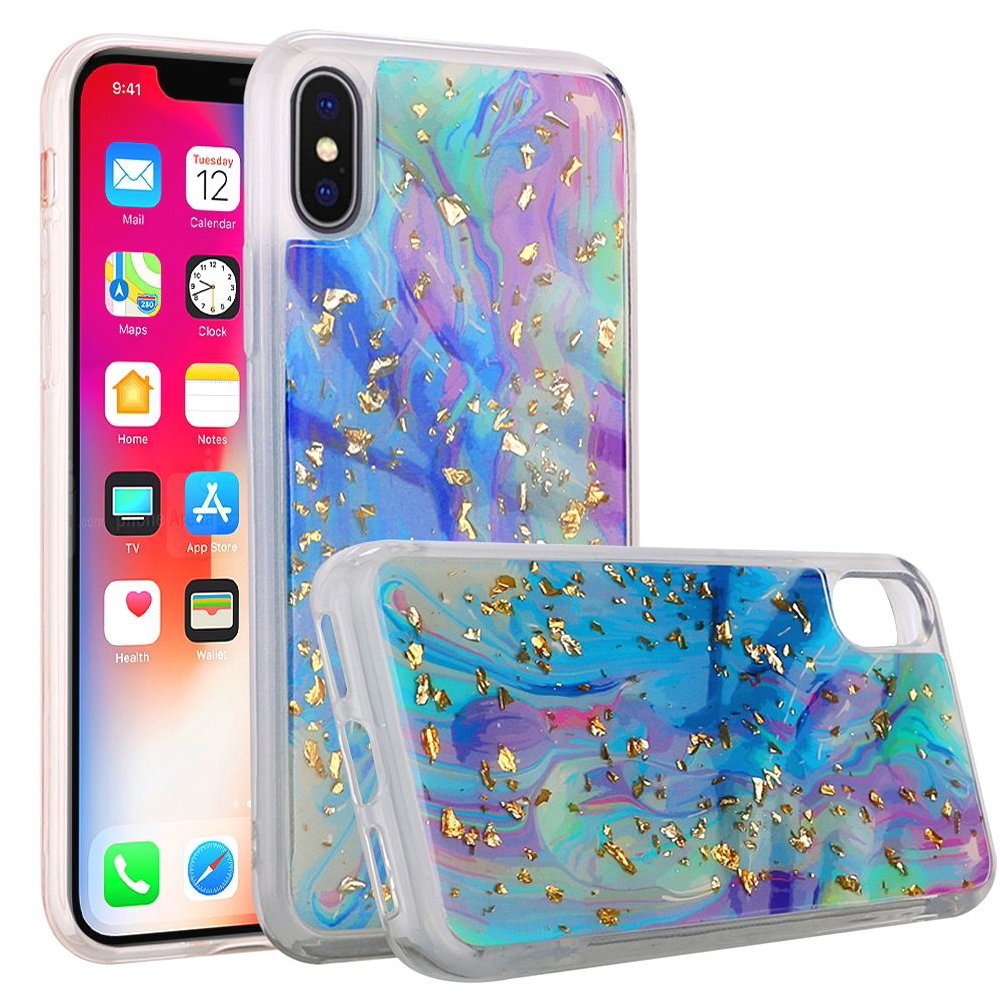 iPhone X Case, Shiny Marble Design Glitter Clear Bumper Matte TPU Soft Rubber Silicone Cover Phone Case for Apple iPhone X, iPhone 10 [2017] - Colorful Galaxy