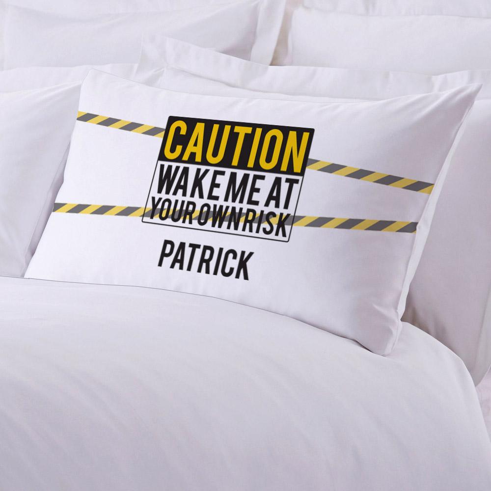 Personalized Caution Standard Pillowcase