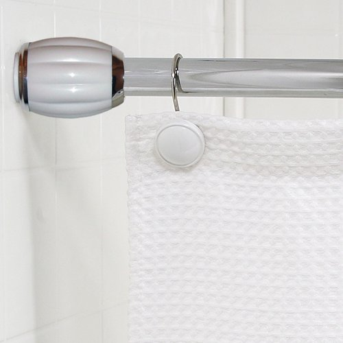 """Chrome/White"" Steel Shower Curtain Tension Rod with Decorative Resin Finals"