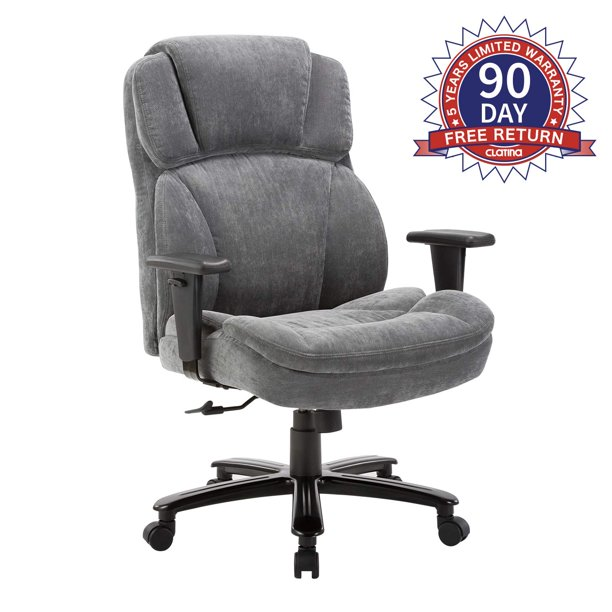 Ergonomic Big Tall Executive Office Chair With Upholstered Swivel 400lbs High Capacity Adjustable Height Thick Padding Headrest And Armrest For Home Office Grey Walmart Com Walmart Com
