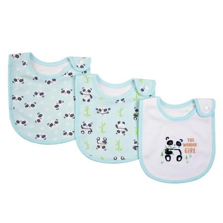3 Pack Baby Bibs 100% Organic Cotton Drooling Teething Feeding Bib Soft Super Absorbent With Snap Button For 0-36 Months Girls Boy Newborns Infant Toddlers Panda 100% Organic Cotton Bib
