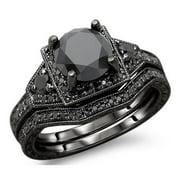 Noori Collection Noori 14k Black Gold 3ct TDW Black Round Diamond Engagement Ring Bridal Set