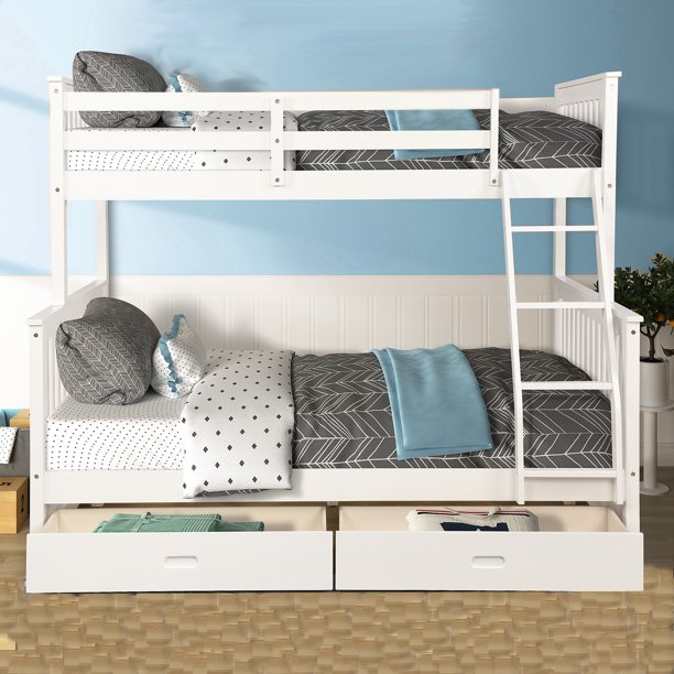Kids Twin Over Full Bunk Beds Solid Wood Bunk Beds With Ladder And Safety Rail Bunk