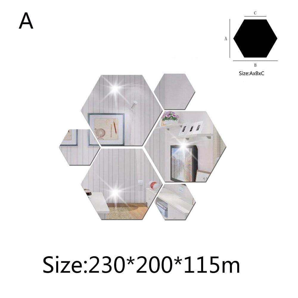 7Pcs 3D Mirror Hexagon Vinyl Removable Wall Sticker Decal Home Decor Art DIY