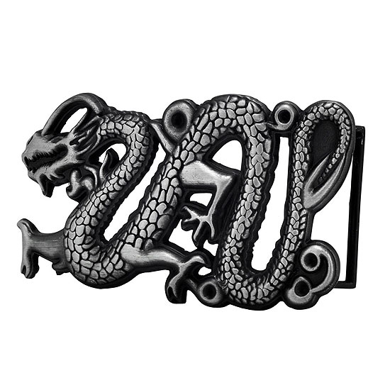 Buckle Rage 3D Ancient Chinese Dragon Tattoo Belt Buckle, SILVER, 457