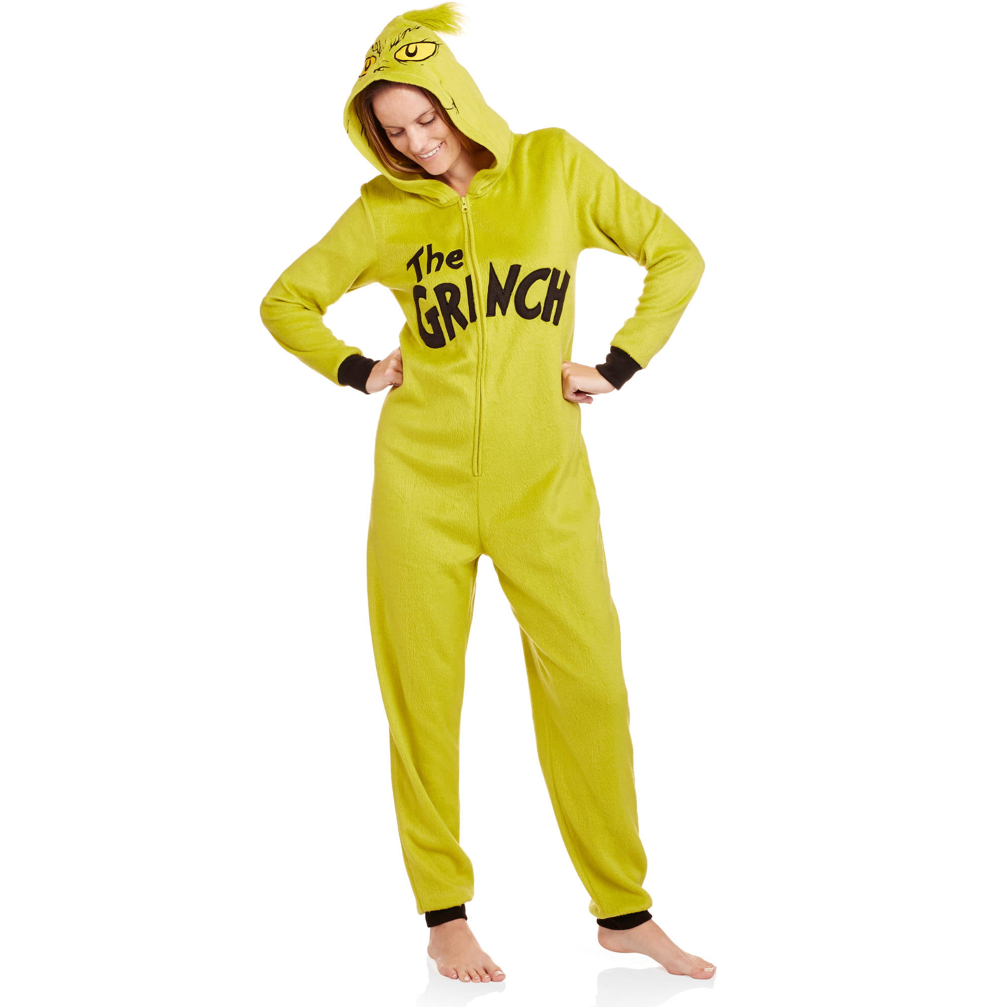 licensed grinch womens and womens plus one piece pajamas walmartcom - Walmart Christmas Pajamas