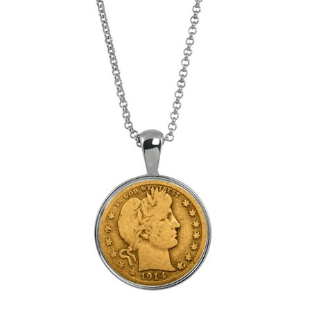 UPM Global 14376 Gold Layered Silver Barber Quarter Silver Tone Coin Pendant - image 1 of 1