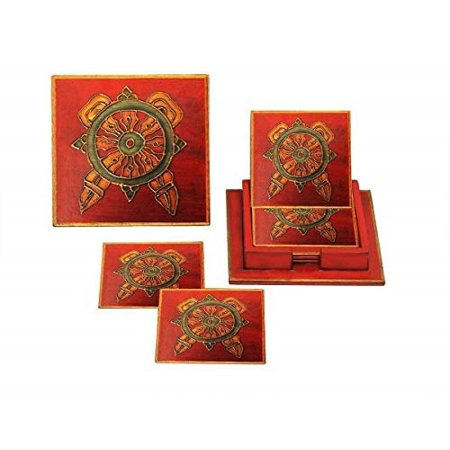 Accessories Hand Carvings (storeindya Thanksgiving Gifts Set of 6 Bar Drink Coaster Tea Coffee Mug Tabletop Barware Wooden Hand Carved Traditional Dining Accessories Home Decor (Buddhist Monastery Collection))