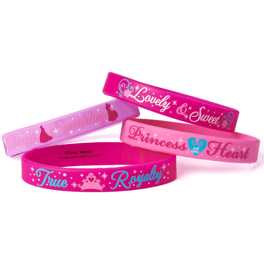 Disney Princess Rubber Bracelets, 4 Count, Party Supplies