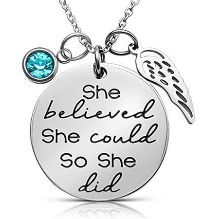 ''She Believed She Could So She Did'' Sayings Quote Pendant Charm Necklace, Jewelry Gift, Birthday, Graduation Presents for Daughter, Granddaughter, Girls Teens Women (Aqua Blue)