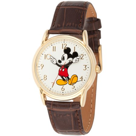 Mickey Mouse Men's Gold Cardiff Alloy Watch, Brown Leather Strap