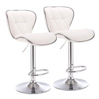 Pemberly Row Shell Adjustable Barstool in White (Set of 2)
