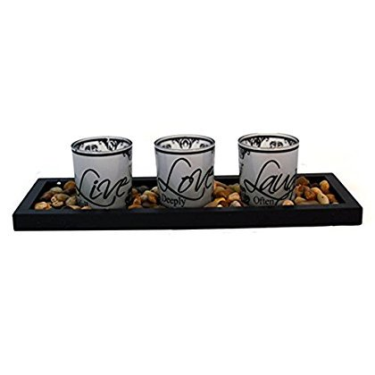 StealStreet JUE-066 Ss-Ug-Jue-066, 15' 'Live Love Laugh' Glass & Rock 3 Candle Holder, Multicolor
